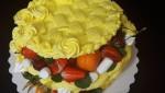 """Праздничный торт """"Корзина с фруктами круглая"""""""
