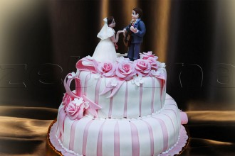 Свадебный торт бело-розовый двухъярусный