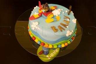 """Детский торт """"Медведь на самолёте"""""""