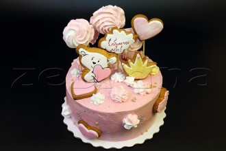 Детский торт для девочки кремовый с пряниками