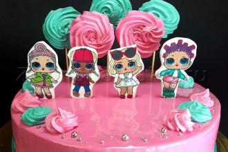 "Торт для девочки ""Куклы Лол"""