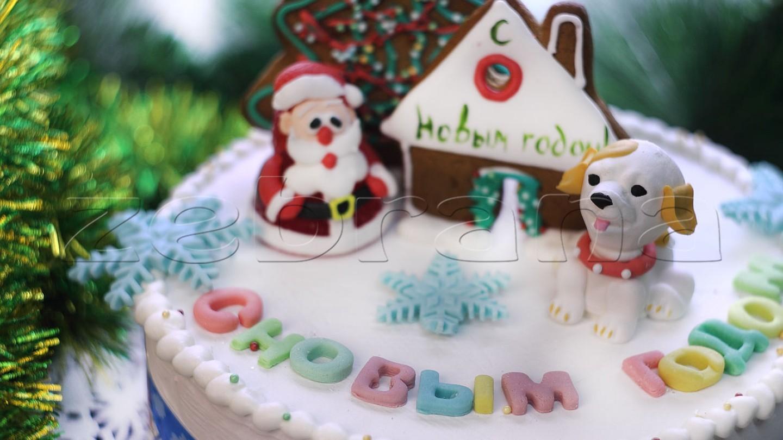 Торт на Новый год с имбирной ёлкой
