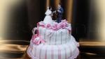 Свадебный торт бело-розовый двухъярусный.
